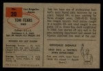 1954 Bowman #20  Tom Fears  Back Thumbnail