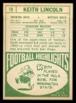 1968 Topps #19  Keith Lincoln  Back Thumbnail