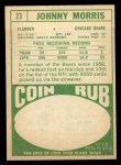 1968 Topps #23  Johnny Morris  Back Thumbnail