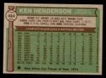 1976 Topps #464  Ken Henderson  Back Thumbnail