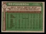 1976 Topps #27  Ed Figueroa  Back Thumbnail