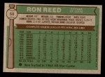 1976 Topps #58  Ron Reed  Back Thumbnail