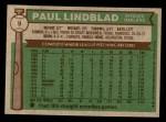1976 Topps #9  Paul Lindblad  Back Thumbnail