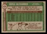 1976 Topps #638  Doyle Alexander  Back Thumbnail