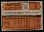 1972 Topps #45 GRN Glenn Beckert  Back Thumbnail