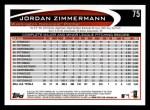 2012 Topps #75  Jordan Zimmermann  Back Thumbnail