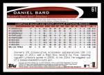 2012 Topps #61  Daniel Bard  Back Thumbnail