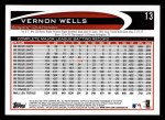 2012 Topps #13  Vernon Wells  Back Thumbnail
