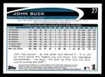 2012 Topps #27  John Buck  Back Thumbnail