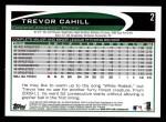 2012 Topps #2  Trevor Cahill  Back Thumbnail