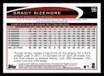 2012 Topps #96  Grady Sizemore  Back Thumbnail