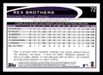2012 Topps #72  Rex Brothers  Back Thumbnail