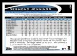 2012 Topps #5  Desmond Jennings  Back Thumbnail