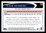 2012 Topps #59   Texas Rangers Postseason Back Thumbnail