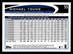 2012 Topps #55  Michael Young  Back Thumbnail