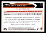 2012 Topps #32   Detroit Tigers Postseason Back Thumbnail