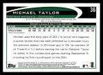 2012 Topps #36  Michael Taylor  Back Thumbnail