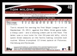 2012 Topps #40  Tom Milone  Back Thumbnail