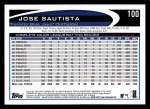 2012 Topps #100  Jose Bautista  Back Thumbnail
