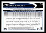 2012 Topps #38  Felipe Paulino  Back Thumbnail