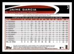 2012 Topps #3  Jaime Garcia  Back Thumbnail