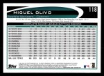 2012 Topps #118  Miguel Olivo  Back Thumbnail