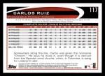 2012 Topps #117  Carlos Ruiz  Back Thumbnail