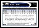 2012 Topps #132  Will Venable  Back Thumbnail