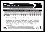 2012 Topps #149  Chris Sale  Back Thumbnail