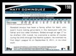 2012 Topps #198  Matt Dominguez  Back Thumbnail