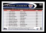 2012 Topps #181   -  Jose Reyes / Ryan Braun / Matt Kemp NL BA Leaders Back Thumbnail