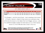 2012 Topps #108   -  Albert Pujols  Highlights Back Thumbnail