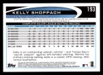 2012 Topps #193  Kelly Shoppach  Back Thumbnail