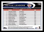 2012 Topps #192   -  Chipper Jones / Albert Pujols / Andruw Jones Active NL HR Leaders Back Thumbnail