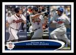 2012 Topps #192   -  Chipper Jones / Albert Pujols / Andruw Jones Active NL HR Leaders Front Thumbnail