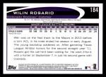2012 Topps #184  Wilin Rosario  Back Thumbnail