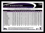 2012 Topps #154  Ty Wigginton  Back Thumbnail
