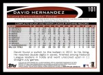 2012 Topps #101  David Hernandez  Back Thumbnail