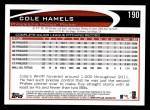 2012 Topps #190  Cole Hamels  Back Thumbnail