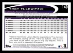 2012 Topps #140  Troy Tulowitzki  Back Thumbnail