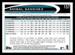 2012 Topps #157  Anibal Sanchez  Back Thumbnail