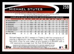 2012 Topps #259  Michael Stutes  Back Thumbnail