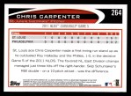 2012 Topps #264   -  Chris Carpenter  Highlights Back Thumbnail