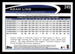 2012 Topps #245  Adam Lind  Back Thumbnail