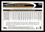 2012 Topps #262  Shaun Marcum  Back Thumbnail