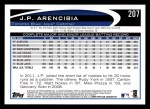 2012 Topps #207  J.P. Arencibia  Back Thumbnail