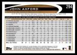 2012 Topps #294  John Axford  Back Thumbnail