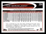 2012 Topps #204  Tom Gorzelanny  Back Thumbnail