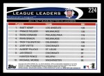 2012 Topps #224   -  Matt Kemp / Prince Fielder / Ryan Howard NL RBI Leaders Back Thumbnail