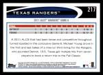 2012 Topps #217   Texas Rangers Postseason Back Thumbnail